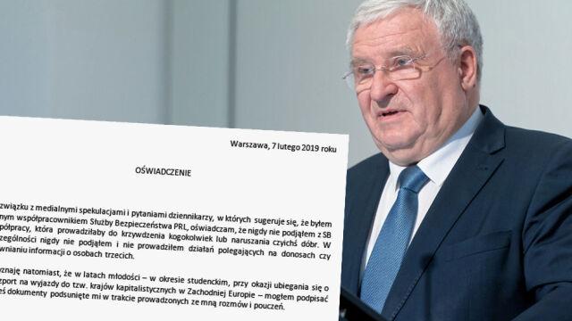 Kazimierz Kujda wydał oświadczenie w sprawie współpracy z SB