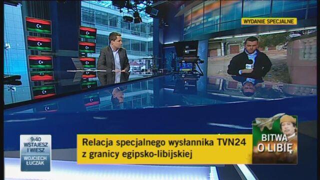 Wysłannik TVN24 Wojciech Bojanowski z pogranicza libijsko-egjpskiego (TVN24)