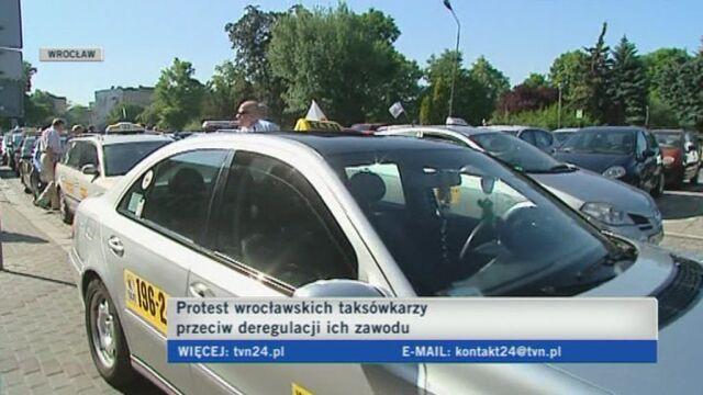 Taksówkarze protestowali we Wrocławiu (TVN24)
