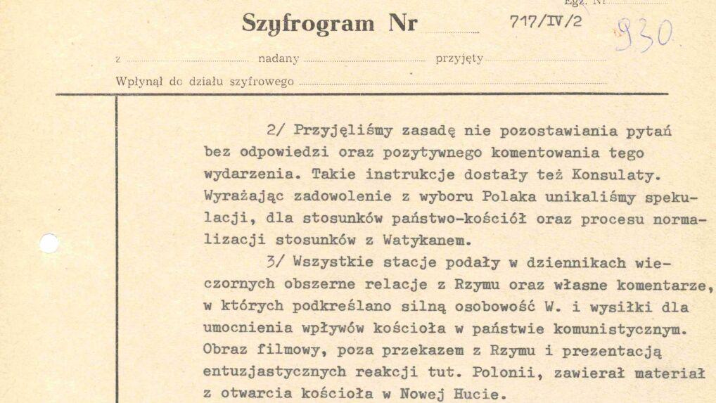 Depesza Romualda Spasowskiego do Warszawy o burzy w mediach amerykańskich, 16 października 1978 r.