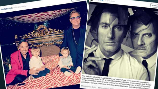 """""""Powstajemy z mamy i taty"""". Dolce&Gabbana krytykują in vitro. Elton John ogłasza bojkot"""