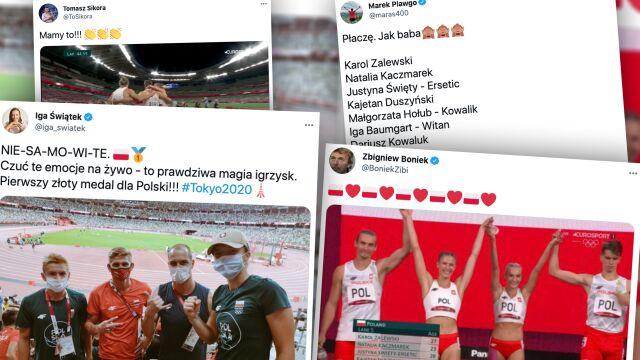 """""""NIE-SA-MO-WI-TE"""", """"Płaczę. Jak baba"""". Świat polskiego sportu oszalał po złocie sztafety"""