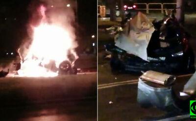 Wjechał w słup, auto stanęło w płomieniach. Nie żyje kierowca