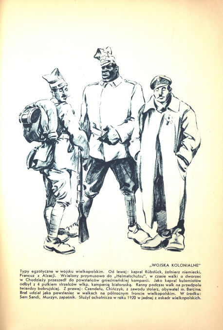 Sam Sandi w towarzystwie Alzatczyka Rubstucka i Chińczyka Czendefu. Karykatura Leona Prauzińskiego.