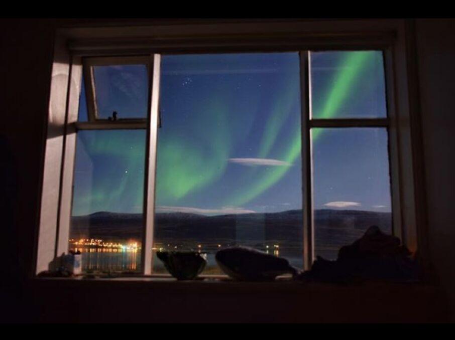 Nocny widok na światła Akureyri