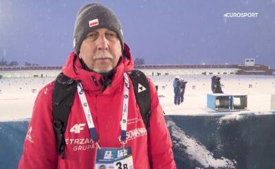Trener biathlonistów po biegu długim na MŚ