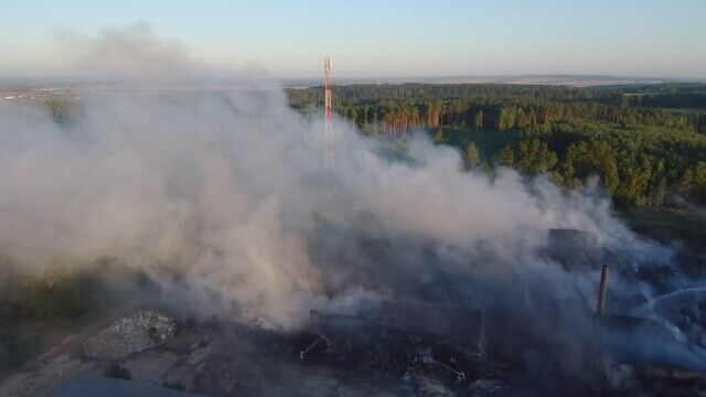 Pożar składowiska odpadów w Jakubowie na Dolnym Śląsku. Film z drona