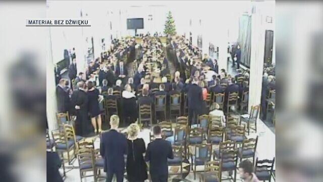 Nagranie z kamery bezpieczeństwa w Sali Kolumnowej z 33. posiedzenia Sejmu