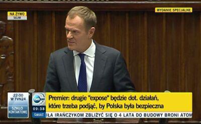 Tusk: Drugie expose nie będzie politycznym fajerwerkiem