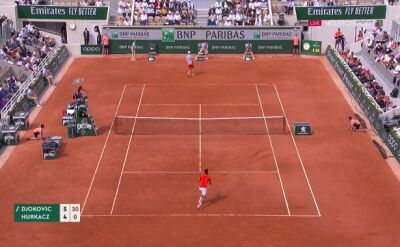 Piłka setowa Novaka Djokovicia w meczu z Hubertem Hurkaczem