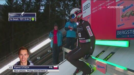 Kamil Stoch trzeci po 1. serii w sobotę w Predazzo