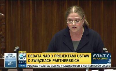 """Krystyna Pawłowicz z PiS: """"Związki partnerskie są sprzeczne z naturą"""""""
