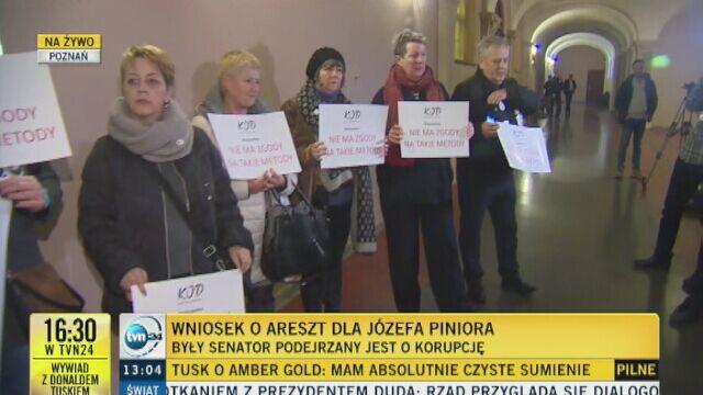 Emocje przed posiedzeniem sądu aresztowego ws. Józefa Piniora
