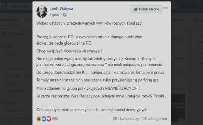 Lech Wałęsa prosi o zwolnienie go z danego słowa, że będzie głosował na PO; chce wesprzeć Kosiniaka–Kamysza