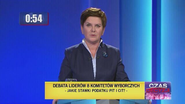 Beata Szydło odpowiada na pytanie o podatki