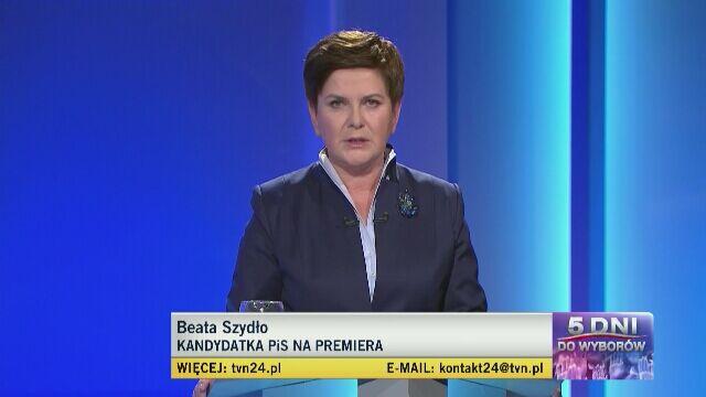 Beata Szydło odpowiada na pierwsze pytanie