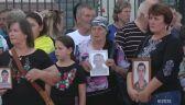 Wiec rodzin żołnierzy poległych w Donbasie przed gmachem ambasady Rosji w Kijowie