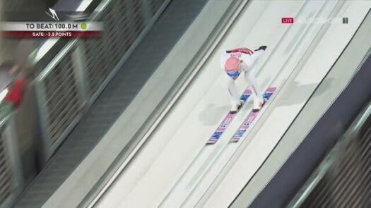 Skok Dawida Kubackiego w 2. serii konkursu MŚ na normalnej skoczni w Oberstdorfie