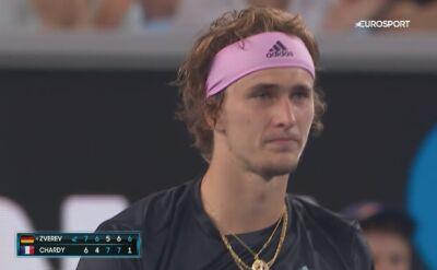 Skrót meczu A. Zverev - Chardy w 2. rundzie Australian Open
