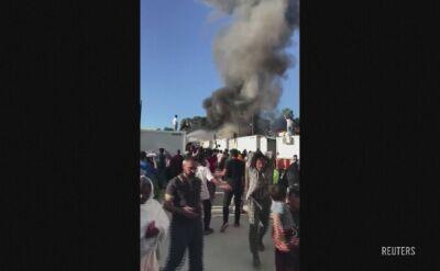 Pożar w obozie dla uchodźców na greckiej wyspie Lesbos