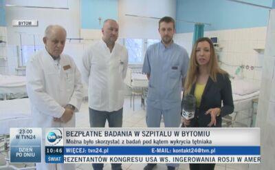 Badania przesiewowe w szpitalu w Bytomiu