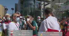 Tokio. Spotkanie i radość polskich chodziarzy na mecie po zwycięstwie Dawida Tomali