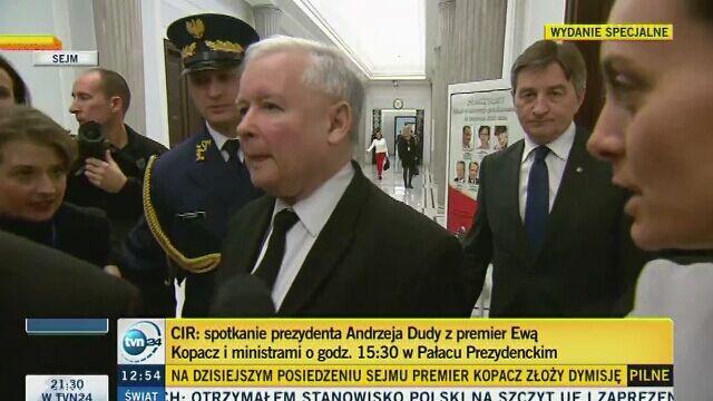 Jarosław Kaczyński przed rozpoczęciem posiedzenia Sejmu