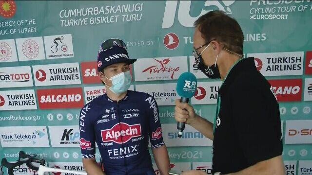 Jasper Philipsen po wygraniu 7. etapu Tour of Turkey
