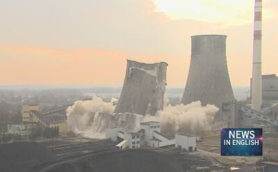 Demolition of cooling tower at Będzin power plant
