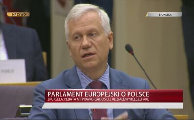 Marek Jurek podczas debaty w europarlamencie