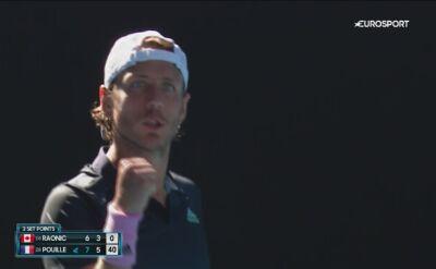 Skrót meczu Pouille - Raonic w ćwierćfinale Australian Open