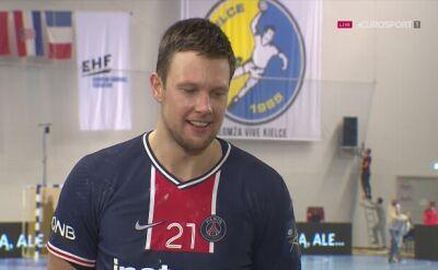 Rozmowa z Kamilem Syprzakiem po spotkaniu Łomża Vive Kielce - PSG