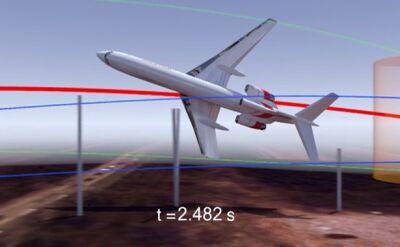 Symulacja katastrofy smoleńskiej autorstwa fizyka (film bez dźwięku)