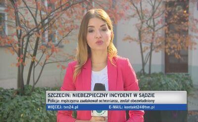 Policjanci zatrzymali mężczyznę, który wtargnął do sądu w Szczecinie