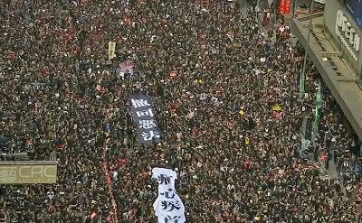 Dwa miliony osób na ulicach miasta. Gigantyczny protest w Hongkongu