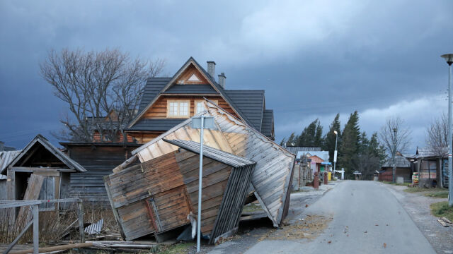 Torn roofs and downed trees. Strong winds swept through Polish highlands