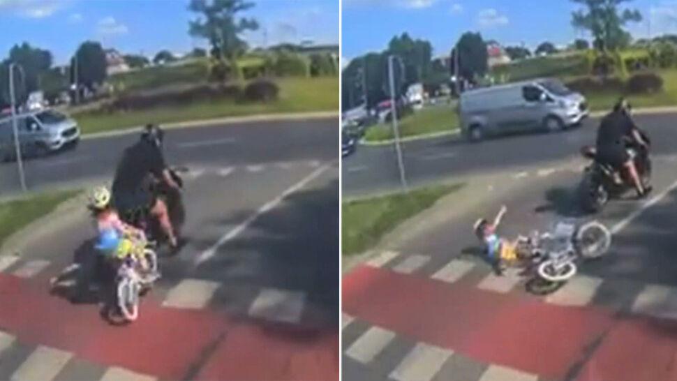 """""""Brakowało ułamka sekundy"""" od tragedii. Motocyklista potrącił 6-letnią rowerzystkę i odjechał"""