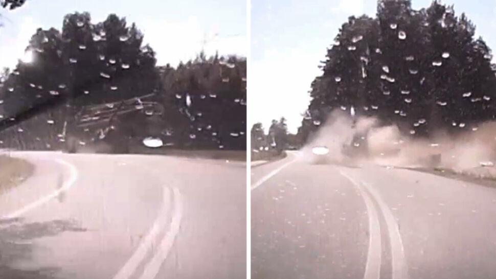 Wypadek w Golance. Ciężarówka dosłownie rozpadła się na kawałki
