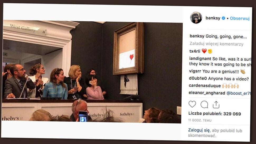 Banksy zniszczył swój obraz po licytacji. Dzieło zyskało na wartości