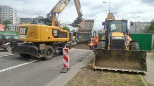 Zapadła się jezdnia Górczewskiej przy budowanej stacji metra
