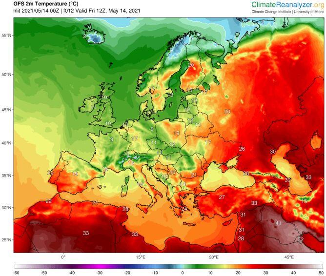 Temperatura maksymalna w Europie 14 maja (ClimateReanalyzer)