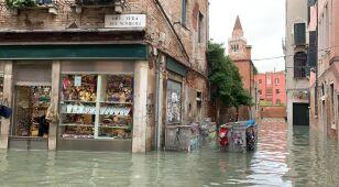 Pani Beata przedziera się przez zalaną Wenecję.
