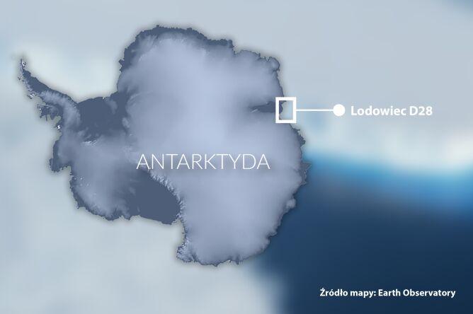 Lokalizacja lodowca D28 (NASA Earth Observatory)