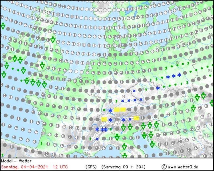 Prognozowane zjawiska pogodowe w Niedzielę Wielkanocną (wetter3.de)