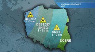 Warunki drogowe w nocy 27.01/28.01